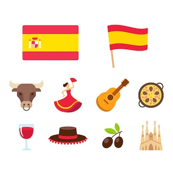 Spain cartoon icons set