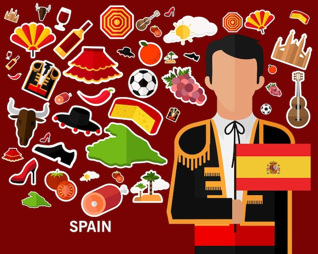 Spain concept background .flat icons