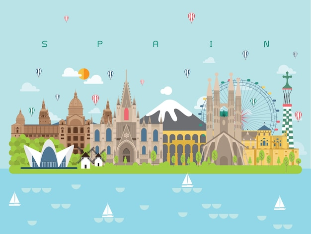 Spain famous landmarks infographic