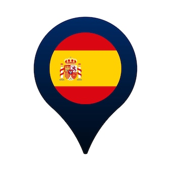 Spain flag and map pointer icon. national flag location icon vector design, gps locator pin. vector illustration