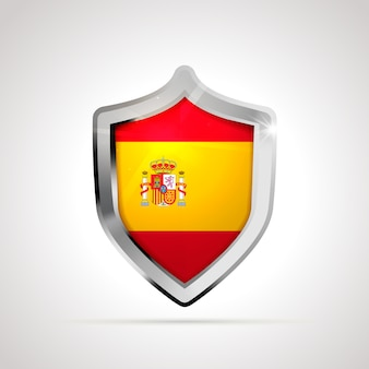 Spain flag projected as a glossy shield