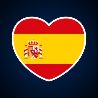 Spain flag in a shape of heart. icon flat heart symbol of love on the background national flag. vector illustration.