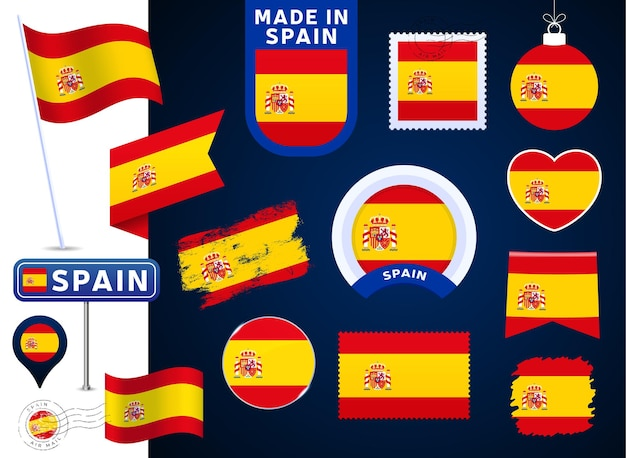 Spain flag vector collection. big set of national flag design elements in different shapes for public and national holidays in flat style. post mark, made in, love, circle, road sign, wave