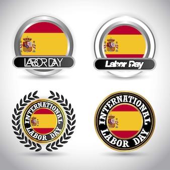 労働日のデザインベクトルとスペインの旗