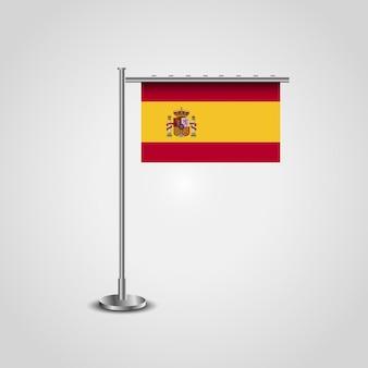 Bandiera della spagna con disegno vettoriale di stand