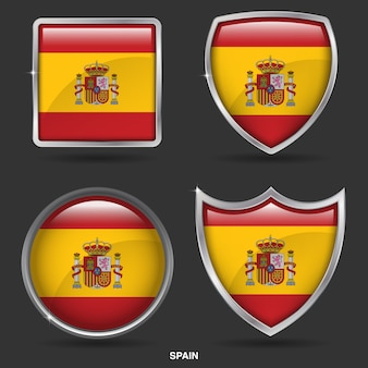 Spain flags in 4 shape icon