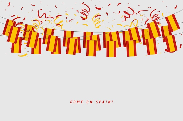 Spain garland flag with confetti on gray background.