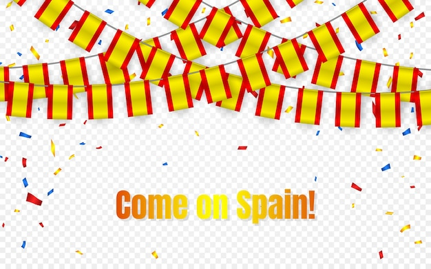 Spain garland flag with confetti on transparent background, hang bunting for celebration template banner,