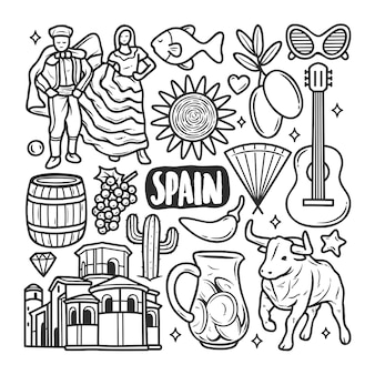 Spain icons hand drawn doodle coloring