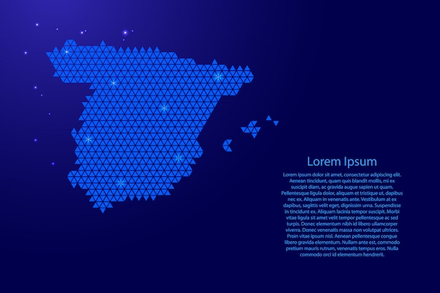 Spain map abstract schematic with blue triangles