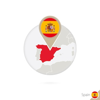 스페인 지도 및 원 안에 플래그입니다. 스페인, 스페인 플래그 핀의 지도입니다. 세계 스타일의 스페인 지도. 벡터 일러스트 레이 션.
