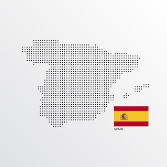 Spain Map design with flag and light background vector