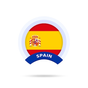 Spain national flag circle button icon. simple flag, official colors and proportion correctly. flat vector illustration.