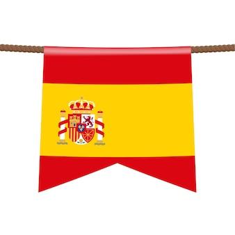 На веревке висит национальный флаг испании. символ страны в вымпеле, висящем на веревке. реалистичные векторные иллюстрации.