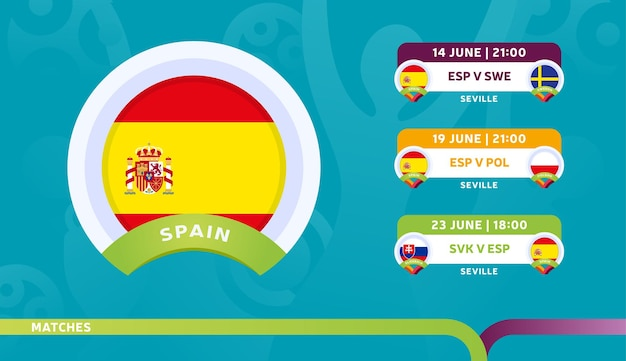 Spain national team schedule matches in the final stage at the 2020 football championship.   illustration of football 2020 matches.