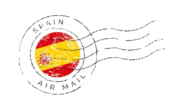 스페인 우표. 국기 우표 흰색 배경 벡터 일러스트 레이 션에 고립입니다. 공식 국가 국기 패턴과 국가 이름이 있는 스탬프