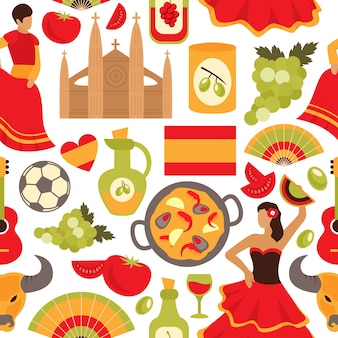 Spain seamless pattern