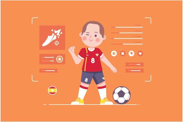 スペインのサッカー選手のかわいいキャラクターデザイン