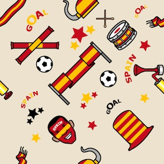Spain soccer supporter gear seamless pattern