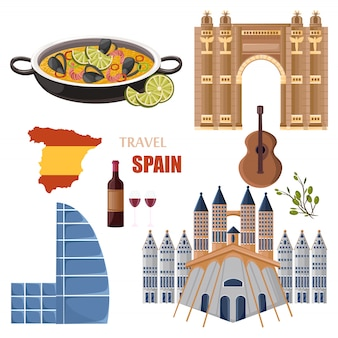 Spain travel landmarks collection