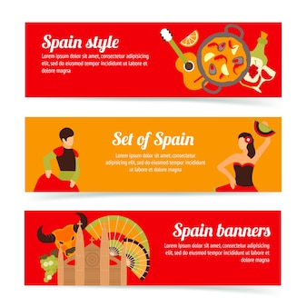 Spain travel spanish style culture wine flamenco banners set isolated vector illustration
