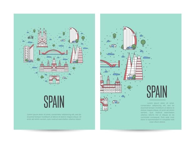 Буклет о путешествии по испании в линейном стиле
