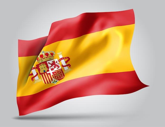 스페인, 파도와 굴곡이 있는 벡터 깃발은 흰색 배경에 바람에 흔들립니다.