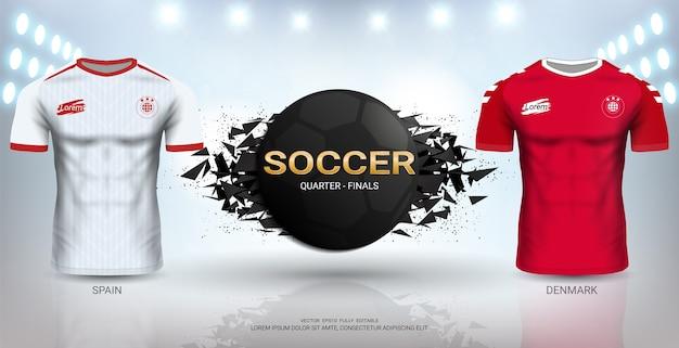 스페인 vs 덴마크 축구 저지 템플릿.