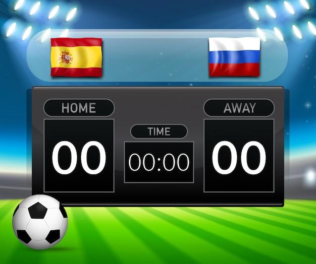 Spain vs russia football scoreboard template