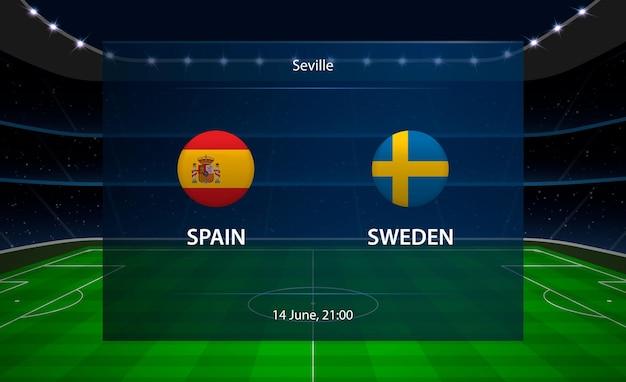 スペイン対スウェーデンのサッカースコアボード。