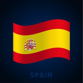 Spain wave vector flag. waving national official colors and proportion of flag. vector illustration.