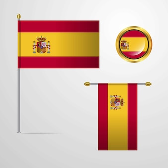 Spain waving flag design with badge vector