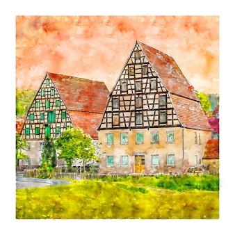 스팔트 바이에른 독일 수채화 스케치 손으로 그린 그림
