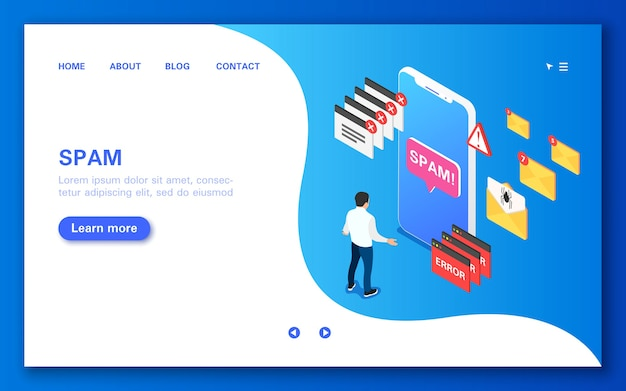Spam. concept banner in flat isometric view.