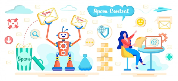 Spam control in e-mail service flat vector concept