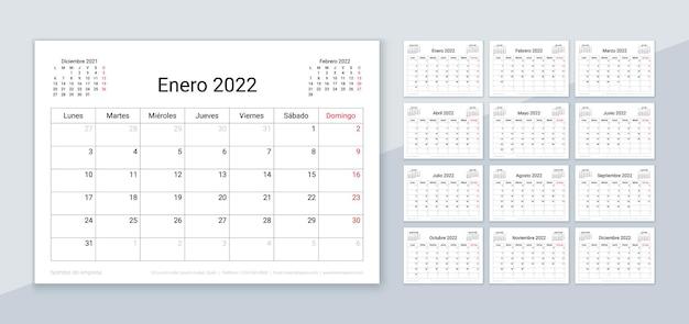 スペイン語の2022年のカレンダー。プランナーテンプレート。テーブルカレンダーのレイアウト。週は月曜日に始まります。スケジュールグリッド Premiumベクター
