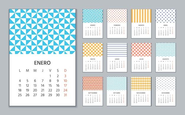Spanish calendar 2021 year.