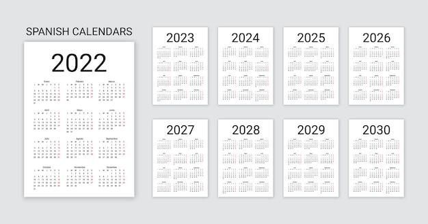 スペイン語カレンダー2022、2023、2024、2025、2026、2027、2028、2029、2030年。シンプルなポケットテンプレート。ベクトルイラスト。