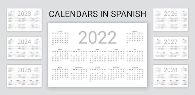 Spanish calendar 2022, 2023, 2024, 2025, 2026, 2027, 2028 years. simple pocket template. vector illustration.