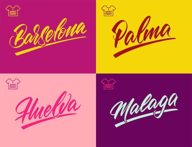 레터링 스타일의 스페인어 도시 이름. 바르셀로나, 팔마, 말라가, 우엘바. 레이저 절단 및 인쇄용. 벡터 일러스트 레이 션.