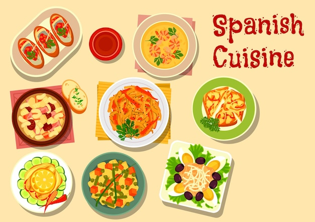 Spanish cuisine lunch with onion tapas, fish sandwich, grilled vegetables, shrimp soup, potato bean salad, sardine salad, bean soup with sausage, tuna salad with egg