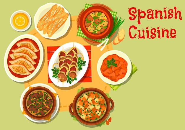 Spanish cuisine pork tomato stew, served with almond soup, liver in garlic onion sauce, grilled lamb kidney on stick, stuffed pork belly, lamb vegetable stew, fried cookie churros