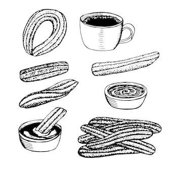 Spanish dessert churros, vector illustration, hand drawing sketch