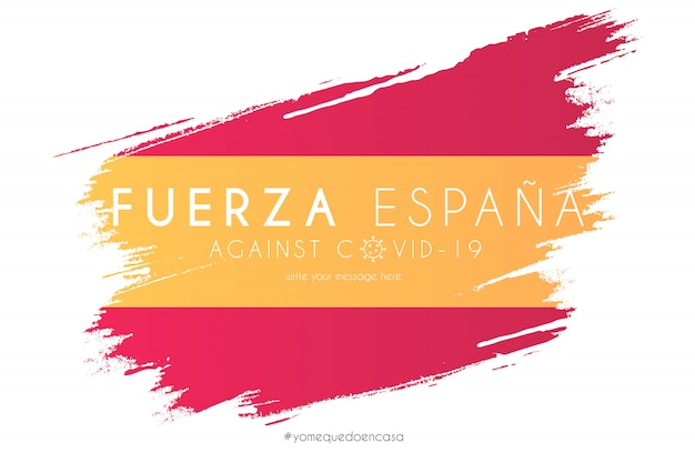 Spanish flag in watercolor splash with support message