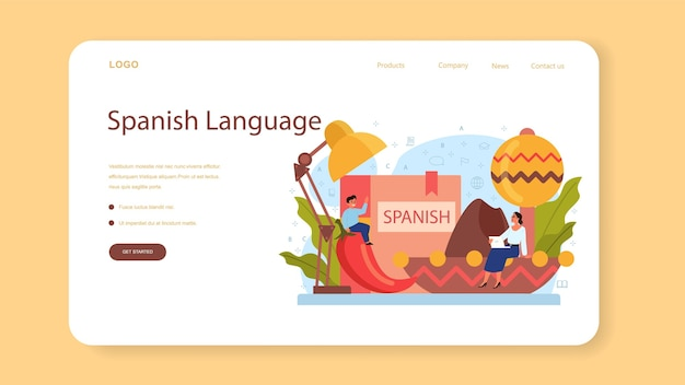Spanish learning web banner or landing page