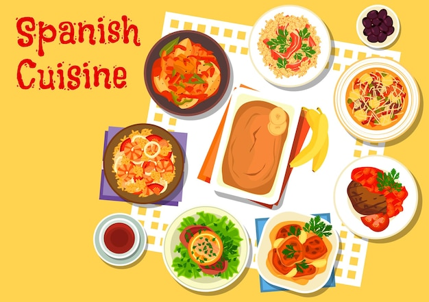 Spanish seafood and meat dishes with sausage soup, seafood paella, rice with gammon, beef schnitzel with salmon, chicken in sherry sauce, tuna potato stew, garlic beef steak, banana pudding