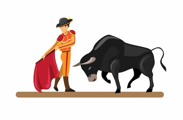 Испанский традиционный аттракцион быка и матадора в мультяшный плоской иллюстрации изолированы