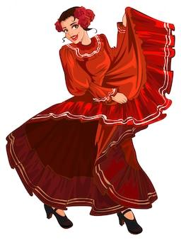 Испанка в красном платье танцует