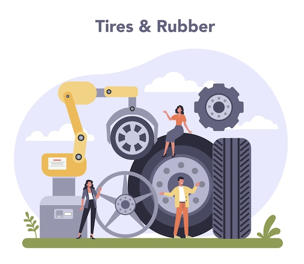 Spare parts production industry. tires and rubber industry.