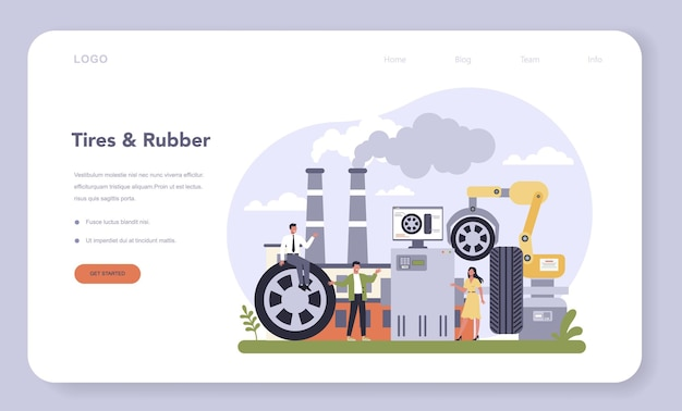 Spare parts production industry web template or landing page. tires and rubber industry. machinery and other industrial equipment.